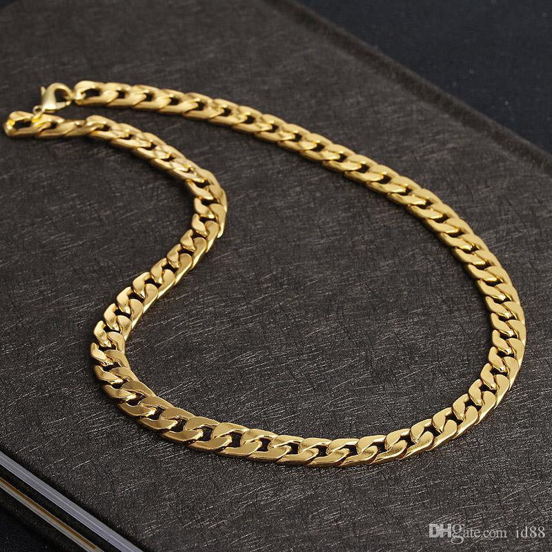 a6c9113d89deb Never fade Luxury Figaro Chain Necklace Men Hip hop Jewelry 18K Real Yellow  Gold Plated 9mm Cuba Link Chain Necklaces for Women Mens