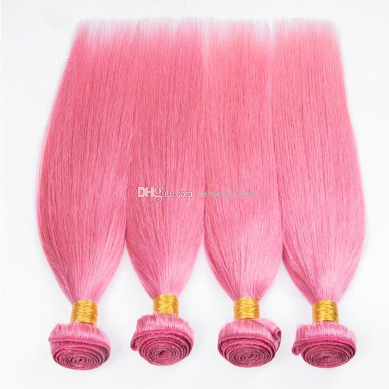 Bonne Qualité Rose Couleur Brésilienne Soyeux Cheveux Raides Bundles Non Transformés Couleur Rose Trame De Cheveux Humains Extensions 4 Bundles Pour Femme