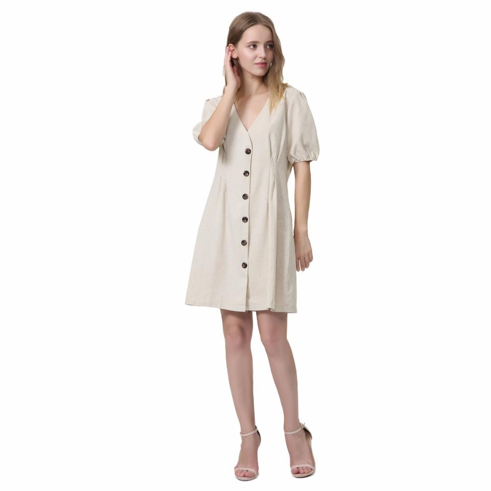 a9b942845c Vadim Women Basic V Neck Linen Dress Short Sleeve Buttons Pleated Chic Cozy  Female Retro Casual Summer Cute Dresses Vestidos Cute Dresses For Special  ...