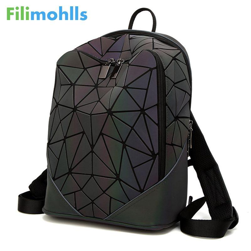 6261fda512 Fashion Women Backpack PVC Geometric Luminous Backpack 2018 New ...