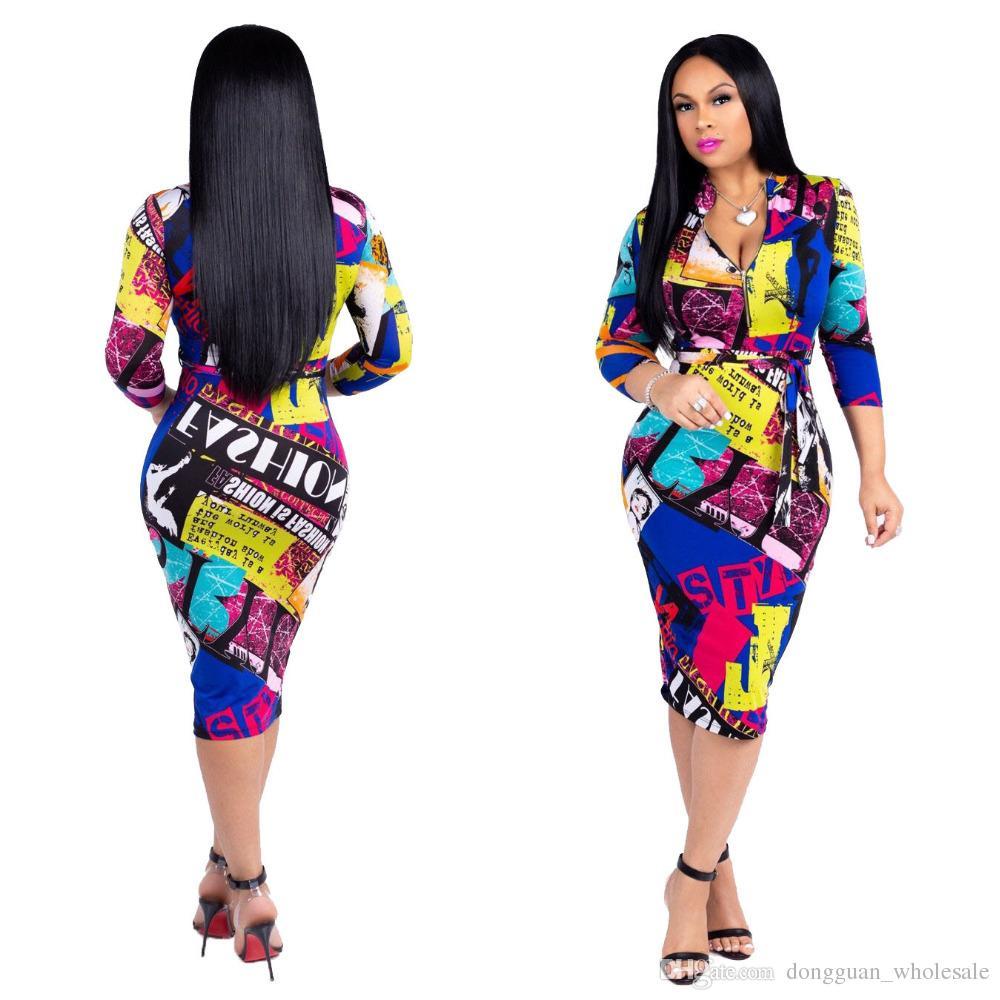 e7606f6c9105 Acquista Vestito A Mezza Manica Dal Vestito Stampato Sexy Di Autunno Di  Nuovo Modo Le Donne Maxi Vestiti Del Partito Di Silm A  17.13 Dal  Dongguan wholesale ...