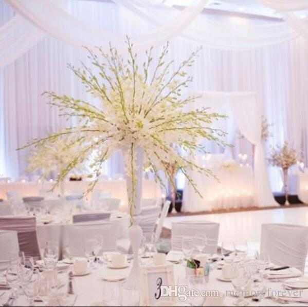 Wholesale Tall Trumpet White Wedding Metal Flower Vase For Table