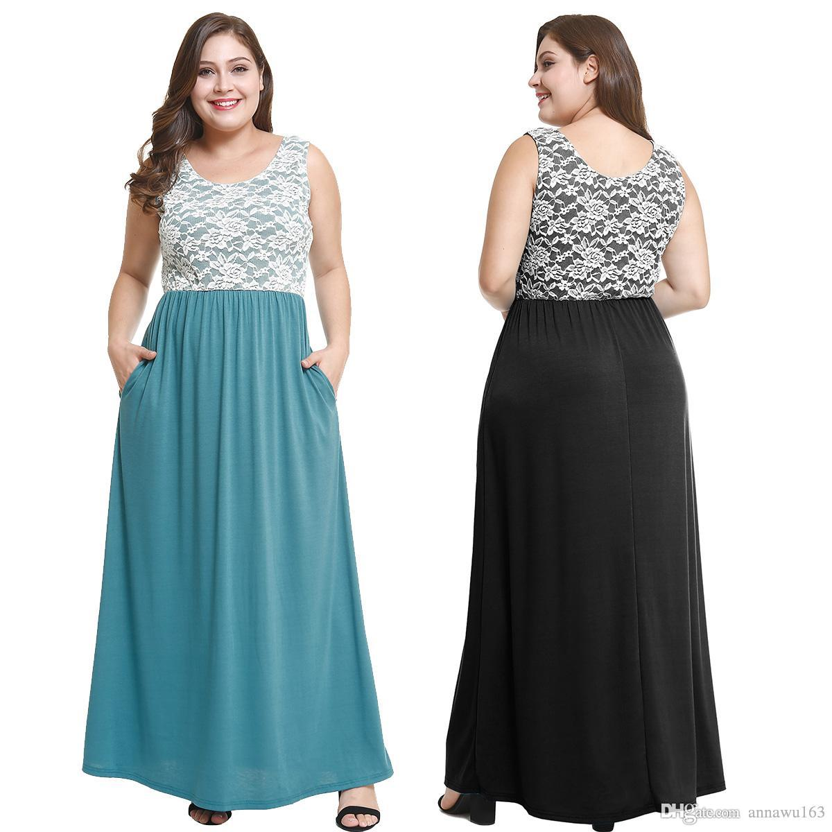 New Arrival Sexy Plus Size Dress Sleeveless Ankle-length Lace Dress  Promotion clothing XL-4XL women's casual dresses