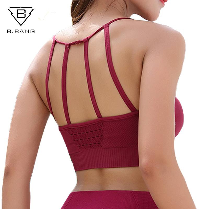 2e1eff5388c3a B.BANG Woman Sports Bra Push Up Active Wear Tops For Women Gym ...