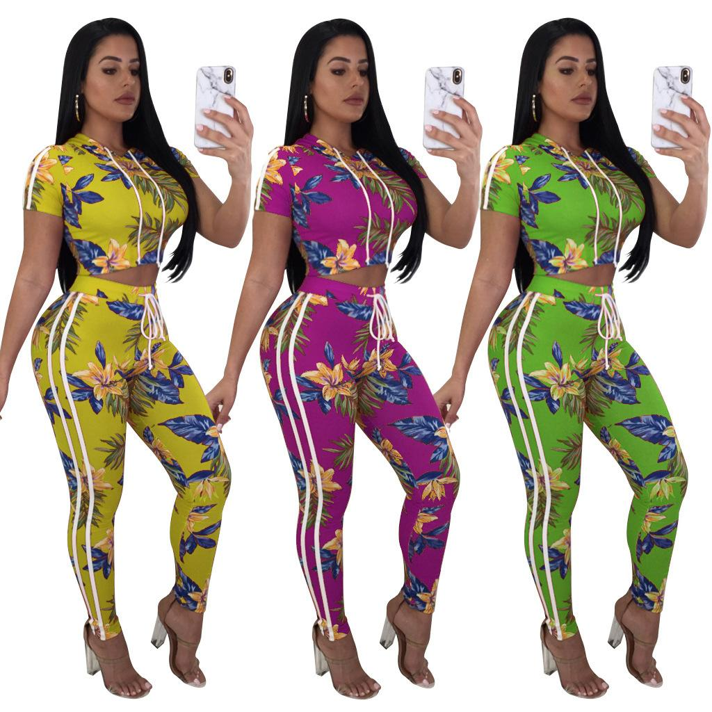42f9e78e580b Tracksuit Women Summer Two Piece Sets Short Sleeve Floral Print Crop Top  and Pants Ladies Streetwear Fashion Leisure Jogger Suit