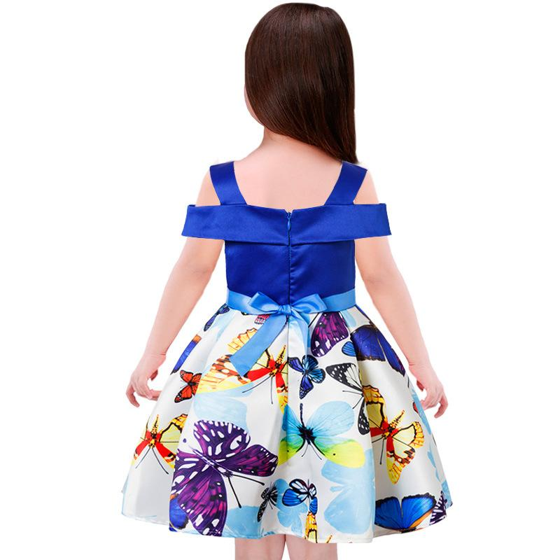 Baby Girls Dresses Print Butterfly Off Shoulder Dress for Girls Kids Wedding Party Princess Dresses Ball Gown Children Clothes