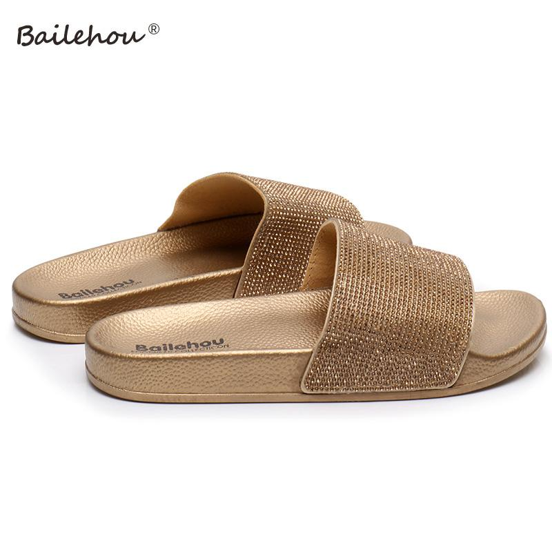339fee54126 Slippers Women Slides Ladies Shoes Woman Fashion Sandals Crystal Gold  Summer Beach Women Flip Flops Flat Slippers Home Female Womens Sandals  Walking Boots ...