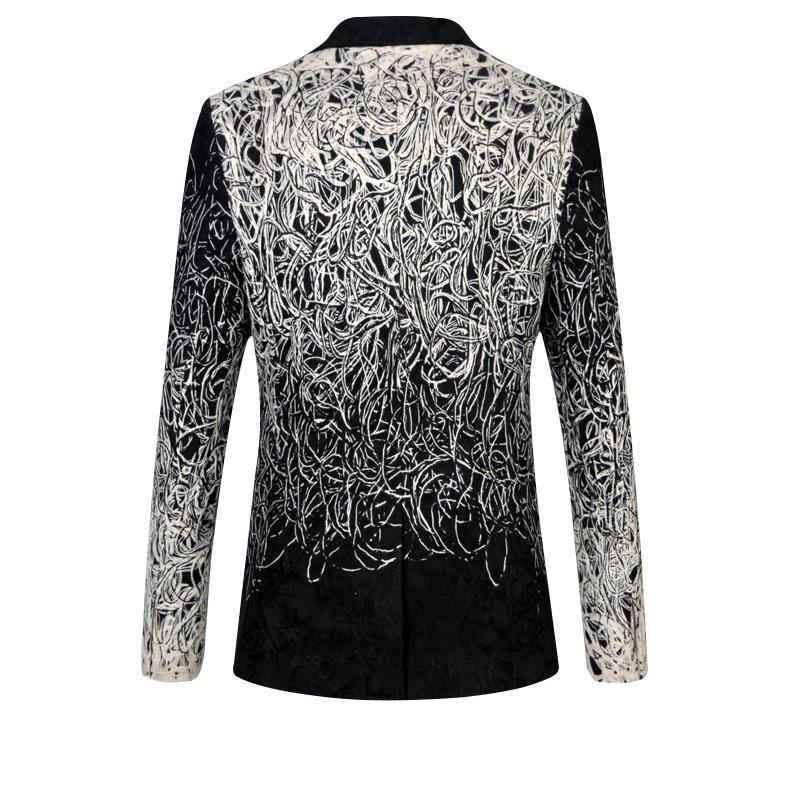 La MaxPa Moda nova marca blazers homens terno jaqueta primavera outono casual slim fit prom noivo festa de casamento de negócios terno jacquard