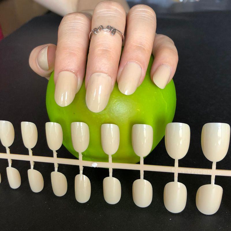 Candy Milk Skin Colour UV Gel Cover False Nails Shiny Round Head ...