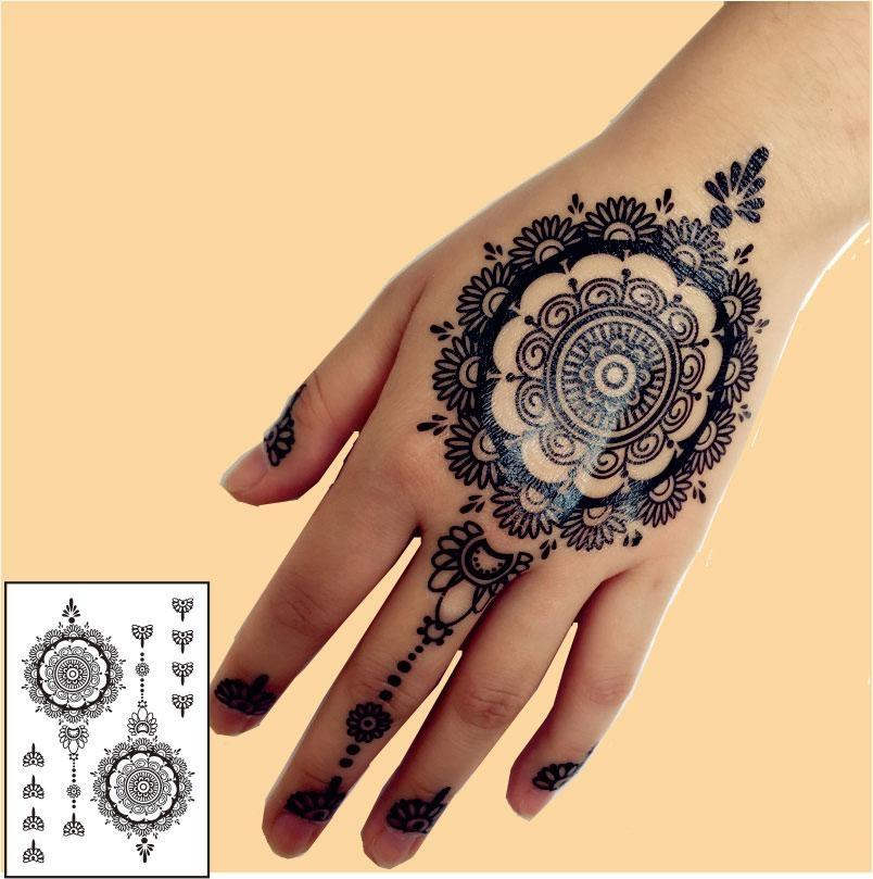 Black Henna Temporary Tattoo For Hands Inspired Body Stickers Gold