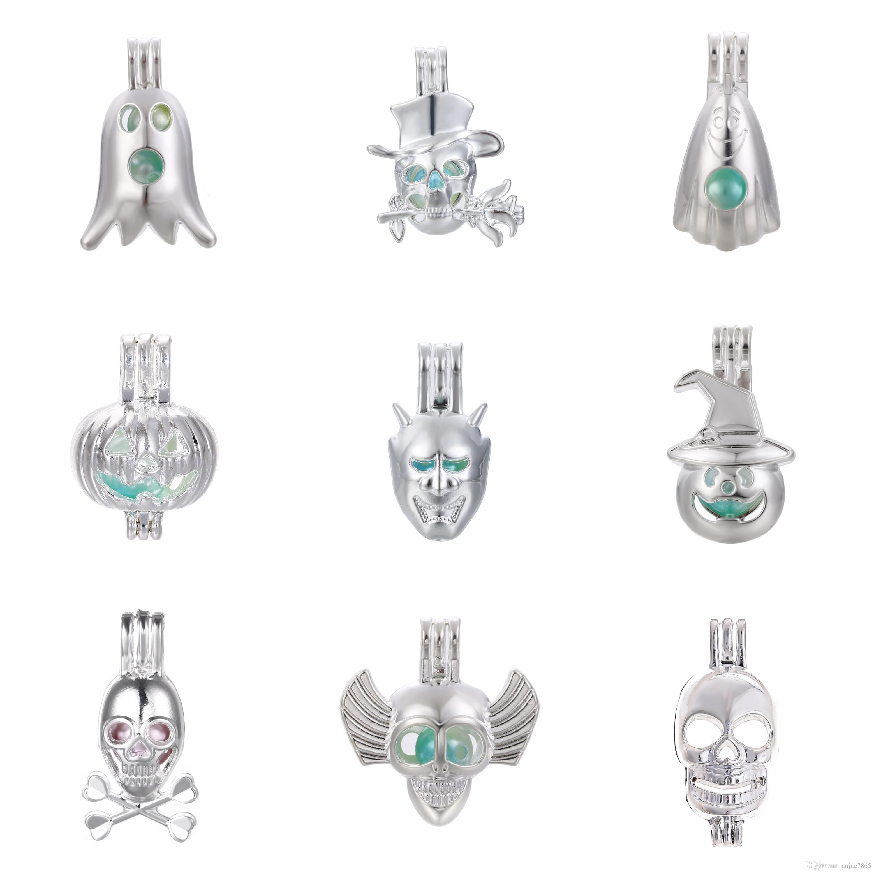 10pc Silver Halloween Ghost Pumpkin Skull Wizard Hat Oyster Pearl Bead Cage Essential Oil Diffuser Mohemian Locket Pendant Jewelry Making