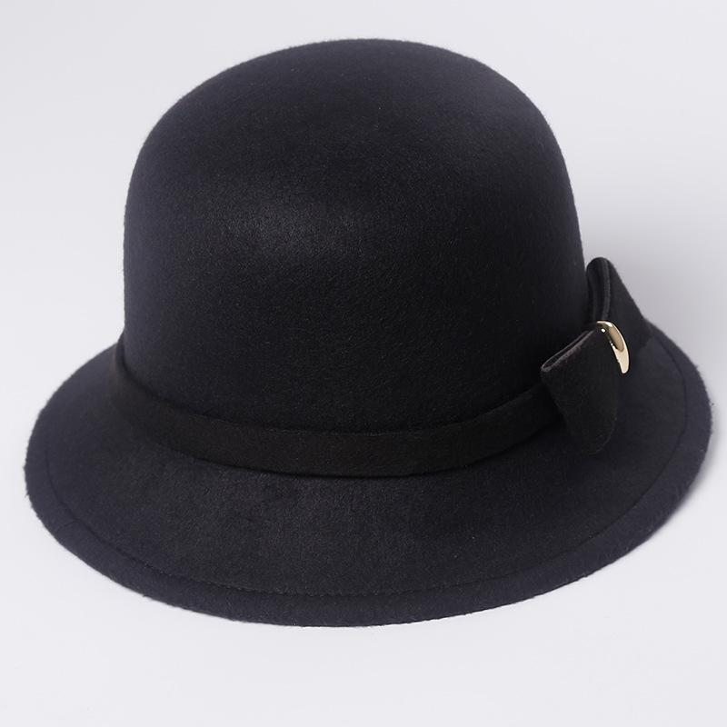 Acquista Bow Bow Hat Top Femminile Versione Coreana Di Autunno E Inverno  Imitazione Cappello Pescatore In Lana Pescatore Retrò Britannico A  36.4  Dal ... 07e406a94ffe