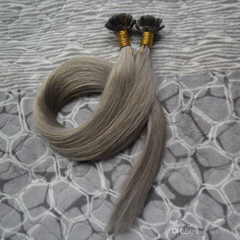 Grey Fusion hair extensions 100s Grey keratin stick tip hair extensions 100g brazilian virgin pre bonded hair extensions