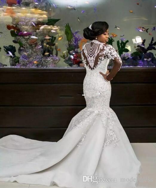 2019 luxo sereia vestidos de casamento sheer manga longa alta pescoço contas de cristal capela trem africano árabe vestidos de noiva plus size personalizado