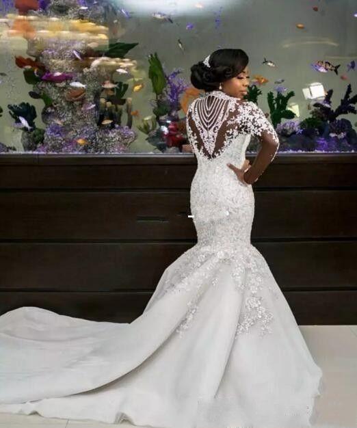 Vestidos de boda de la sirena de lujo Sheer manga larga de cuello alto granos del cristal de la capilla de tren vestidos de novia de África árabe más el tamaño personalizado 2020