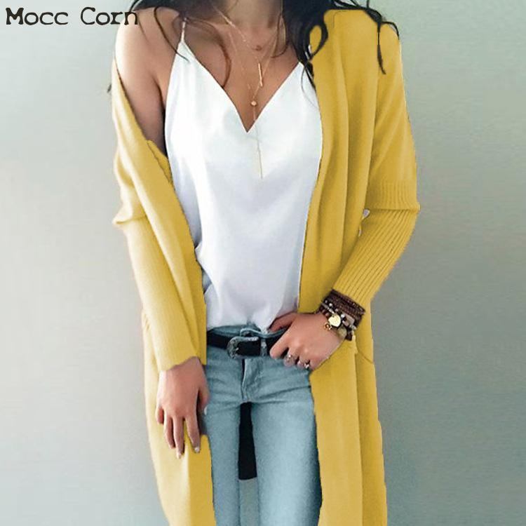 new concept d9ac9 a599e Mocc Mais Frauen lange Wolle Strickjacke dick gestrickte warme Pullover  Damen Mäntel Winter Kaschmir Cardigan Taschen lose Pullover Mantel