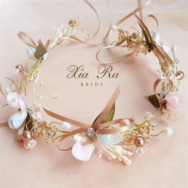 Braut Kopfschmuck Blume Krone Braut Braut Stirnband Mode Elegante Handgemachte Bowknot Blume Perle Silk Head Band Hochzeit Haarschmuck