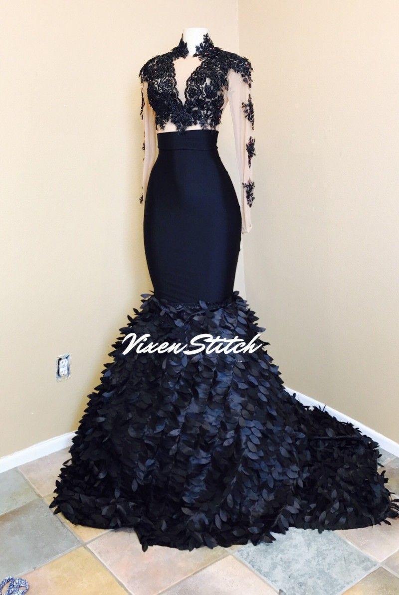 Seksowna Syrenka Prom Dresses Wysokiej szyi Długie Rękawy Illusion Bodice Aplikacje Satynowe Suknie Wieczorowe Party Sukienki Sweep Pociąg