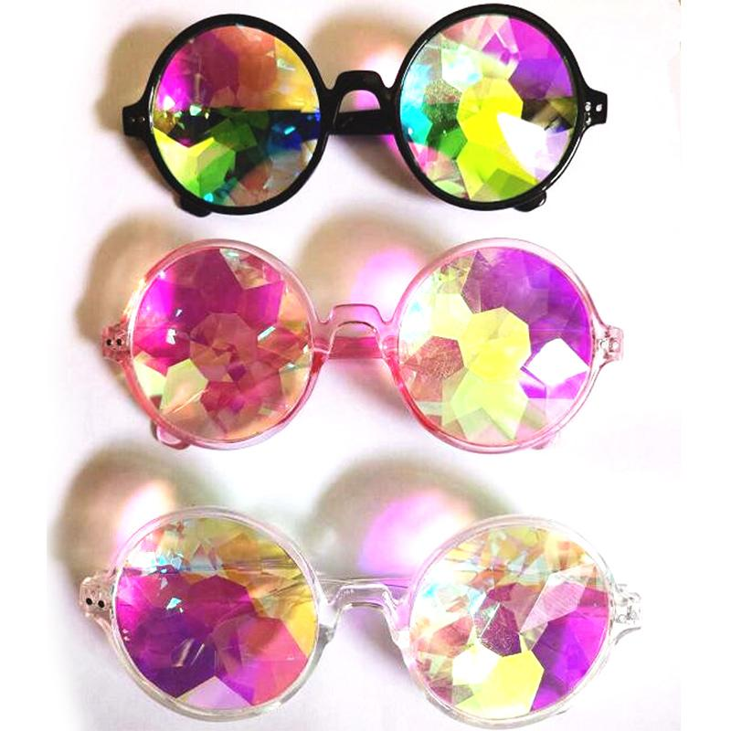 Women Fashion Geometric Kaleidoscope Glasses Rainbow Rave Lens Bling Bling Prism Crystal Party Diffraction Sunglasses Small Round Sun Glasse