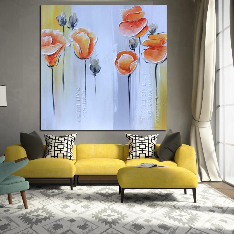 Acheter Impression Abstraite Couteau Orange Coquelicots Peinture À Lu0027huile  Sur Toile Pop Art Affiche Moderne Mur Photo Pour Le Salon Canapé Cuadros  Décor De ...