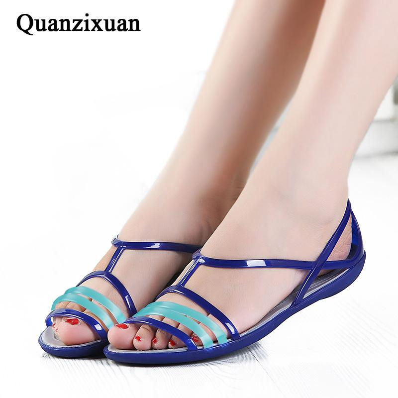 55f5bb4b0 Quanzixuan Women Sandals Rainbow Jelly Shoes Woman Flats Sandals  Comfortable Summer Flip Flops Beach Reef Sandals Gold Shoes From Bking