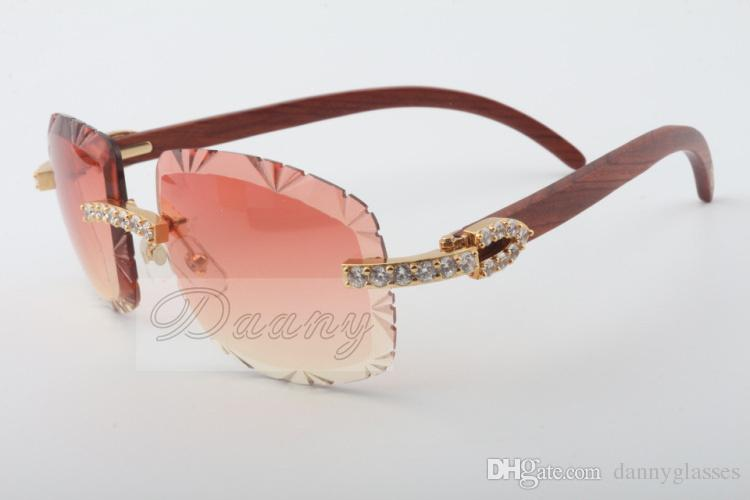 2018 Best-selling natural wood sunglasses, 8300075-A, high-end luxury color lens large diamond sunglasses Size: 58-18-135 Sunglasses