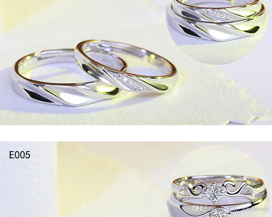 Hot Sale Trend Fashion Love Heart Couples Rings 30% 925 Sterling Silver plated white k gold Valentine's Ring High Quality Mix Cheap Wholesal