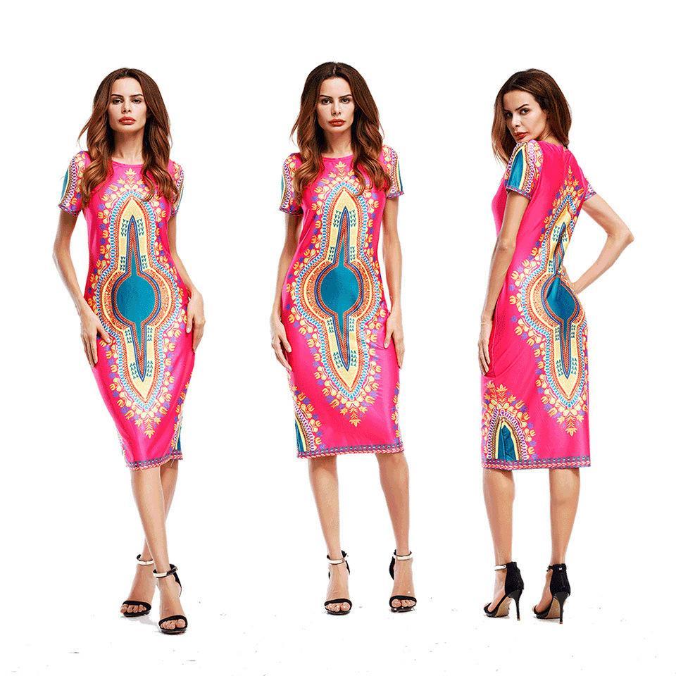 2018 Tótem Gran Calientes Vestidos Tradicionales Impresión Digital Nuevos Verano De Mujer Mujeres Tamaño Africano Tribal xECQBWoerd