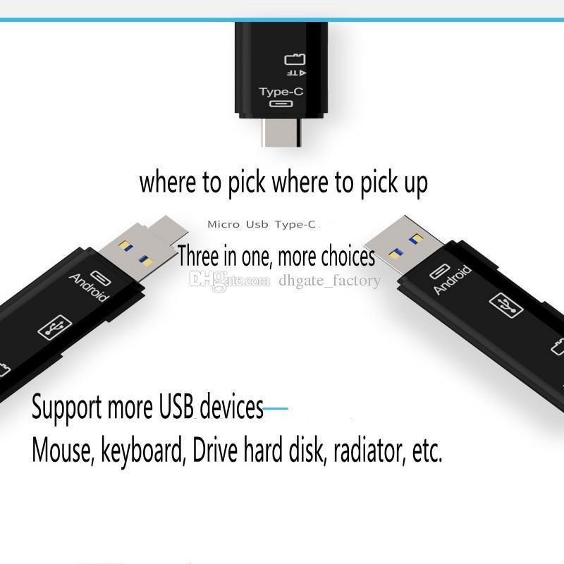 2018 جديد 3 في 1 USB 3.1 نوع C مايكرو USB OTG USB قارئ بطاقة مايكرو SDHC قارئ بطاقة الذاكرة عالية السرعة مع pakcage