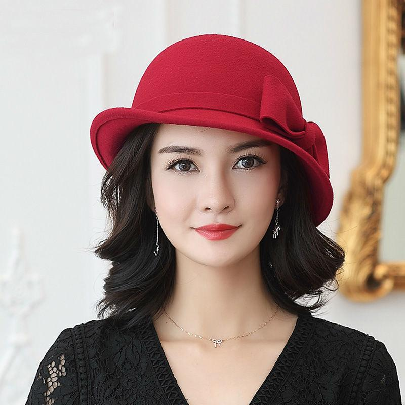 e615c5d92e9 Beckyruiwu Women Winter 100% Wool Felt Hats Lady Party Formal Up ...