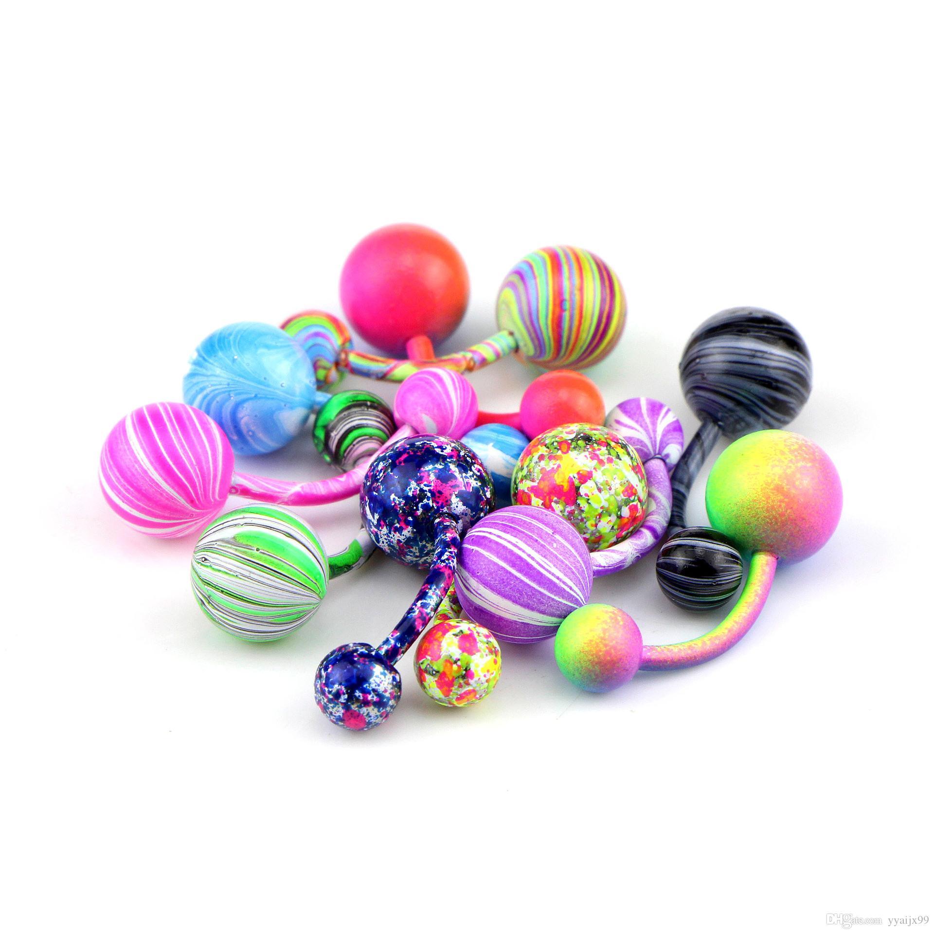 9 renk Vücut takı Renkli Göbek Göbek Yüzük Paslanmaz Çelik Göbek Bar Yüzükler Göbek Piercing Takı moda