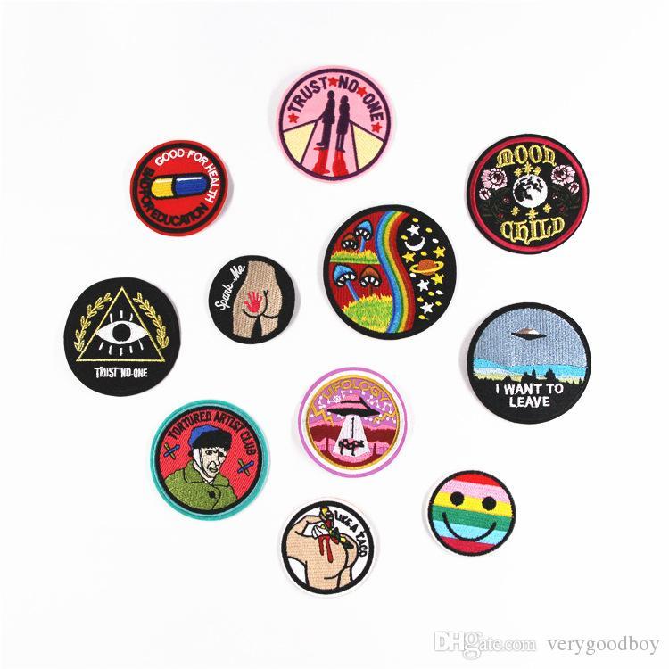Compre 5 Unids Diy Multicolor Ronda Patch Patrón De Dibujos Animados ...