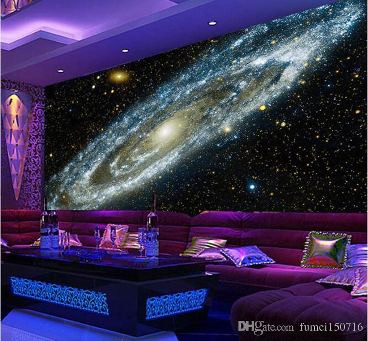 Groshandel Benutzerdefinierte Jede Grose D Wandbild Tapete Galaxy Sternennebel Decke Wandmalereien Wohnzimmer Sofa Schlafzimmer Hintergrund Tapete Malerei