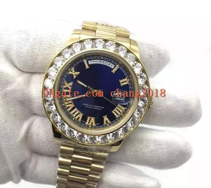 2639a5bd5d Compre Aaa Mens De Luxo Relógios 43mm Grande Diamante Cystal Ouro Presidente  Safira De Aço Inoxidável Mecânico Automático Homens Homem Modelo Relógios  Aaa ...