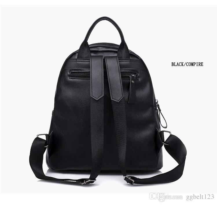 Women's Backpack Black PU Leather School Bag Women Casual Style Cute Bear Backpacks for Teenage Girls College student casual bag