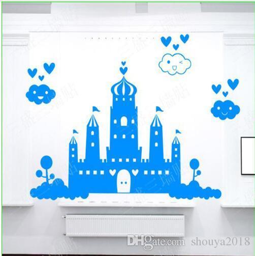 princess castle wall sticker kids nursery vinyls children room wall