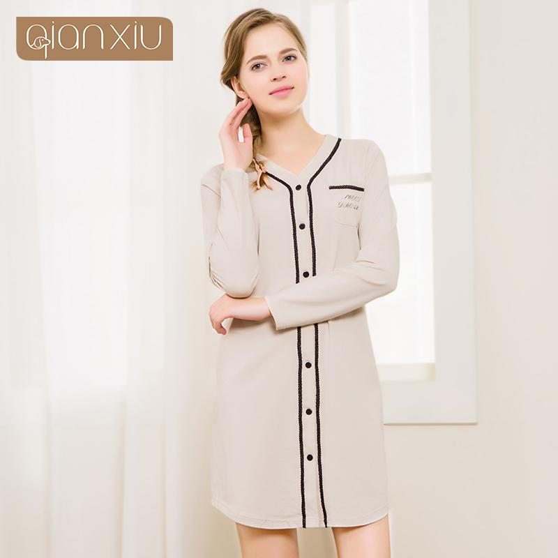 Cotton Woman Casual Nightgown Autumn Long-sleeved Lace Letter Knee-length Pocket Pyjamas Pijamas Sleepwear Button 1667