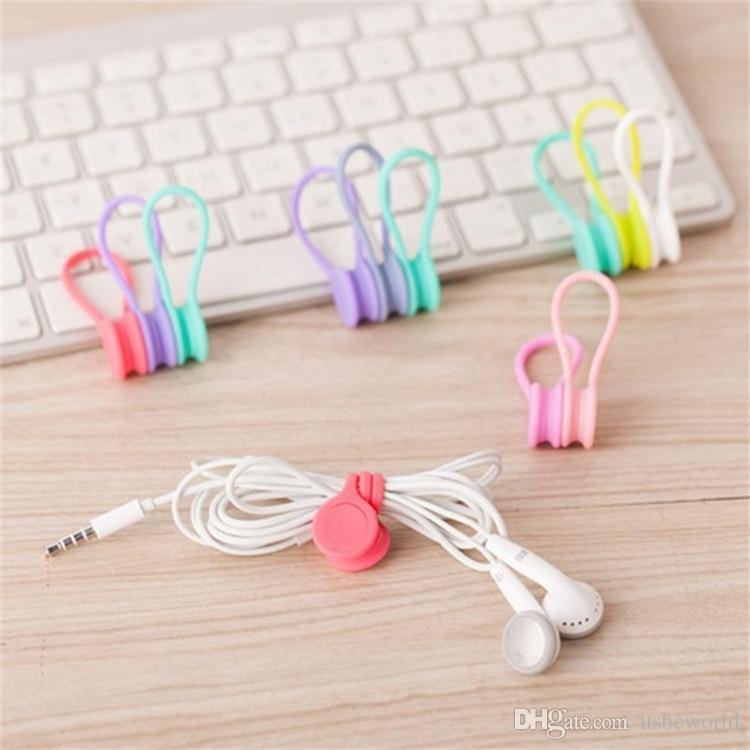 Multifunktionsmanagement Silikon Kopfhörer Kopfhörer Kabelaufwicklung USB Kabelhalter Strap Magnetic Organizer Sammeln Clips Bunte