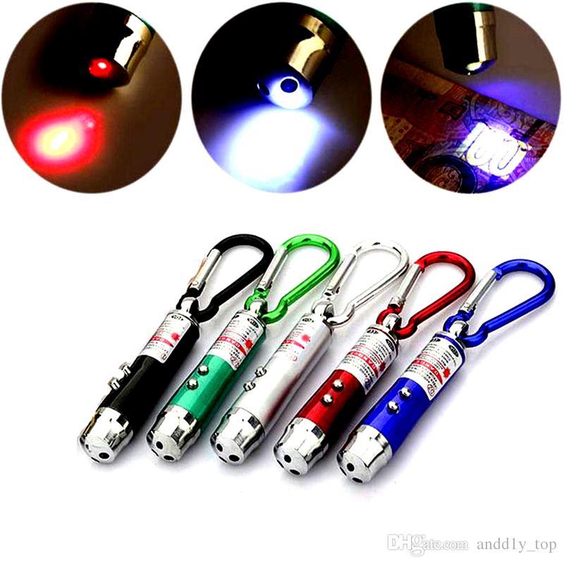 Nouvelle Arrivée Multi-fonctionnelle Mini 3 en1 LED Pointeur de Lumière Laser Porte-clés Lampe-torche Mini Torche Lampe de poche Argent Détecteur Lumière