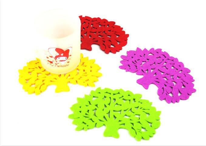 Hot selling 5 pcs/lot Coaster Tree Shape Teapot Mat Drink Accessory Anti Heat Pad Mug For home party