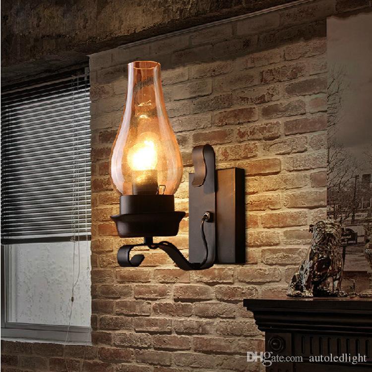 Retro rustico nordic vetro applique da comodino camera da letto applique da  parete vintage industriale applique da parete camera da letto scale ...