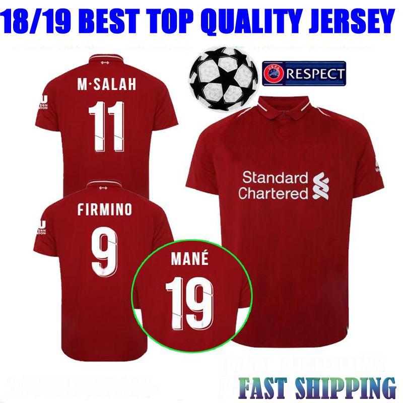 2018 M.Salah Camisetas De Fútbol Liverpooling Home Champions League Milner  Virgil Firmino Henderson Wijnaldum 18 19 De Visitante 3rd Camisetas De  Fútbol Por ... cb139aa0552da