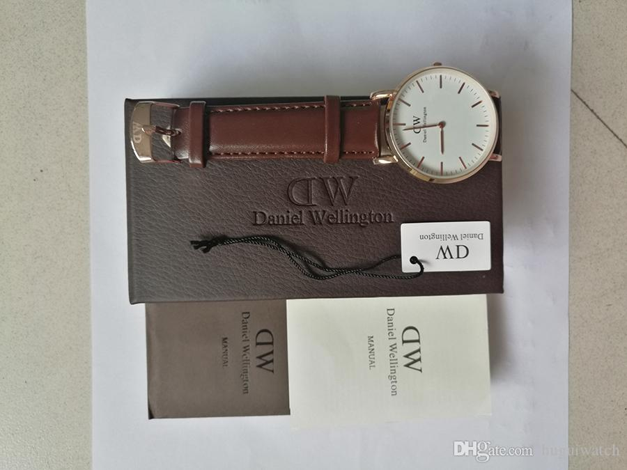 4a04a7cebeab1 2018 Famous Brand Wellington Mens Watches Fashion Leather Style 40 36mm  Rose Gold Mens Women Watches With Gift Box Relojes Shoes Online Shopping  Online ...