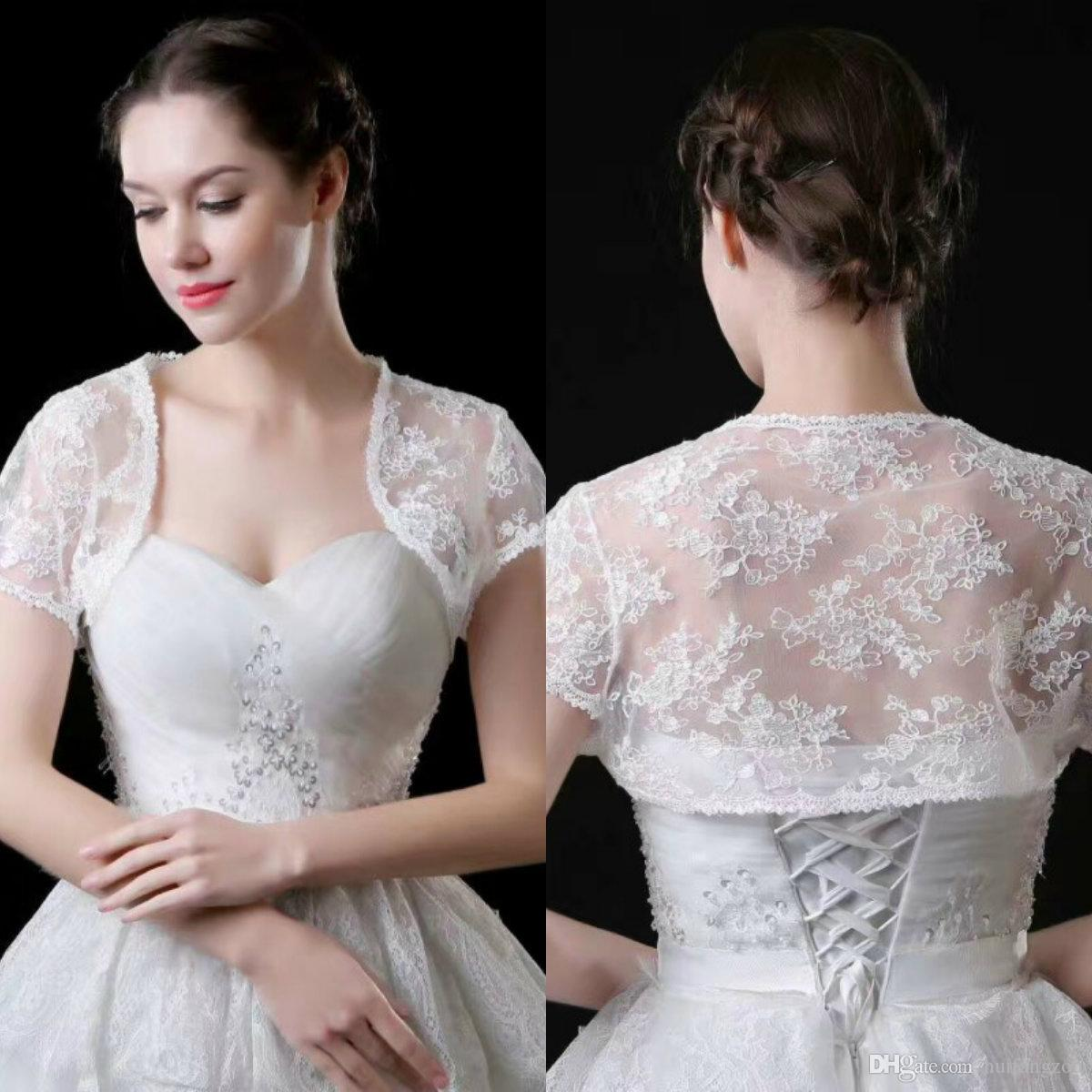 High Quality Bridal Wraps Lace Applique Short Sleeves Sheath Bridal Bolero For Wedding Dresses Custom Made Jacket