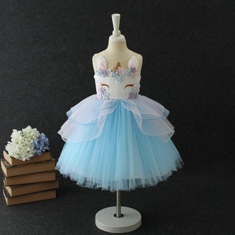102edf3e45ab Fancy Kids Unicorn Tulle Dress For Girls Embroidery Ball Gown Baby Flower  Girl Princess Dresses Wedding Party Costumes Unicornio Flower Girl Dress  For ...