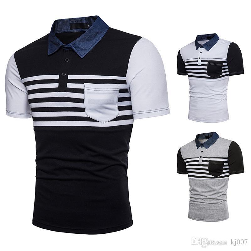 56c92ab9 Men's Polos Striped Design Denim Collar t shirts Short-Sleeved Patchwork Polo  Shirts New Summer Mens Short New Brands Tops Shirt Pocket Hot
