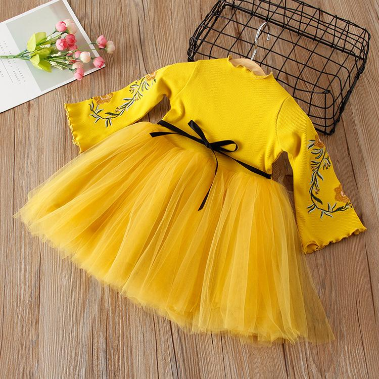 eb89eacb657 Girl Knitting Fashion Dress Kids Princess Party Embroidered Floral Dresses  Cute Clothes Birthday Gift 2018 Autumn Spring 2 3 4 5 6 Years Girls Dress  Autumn ...