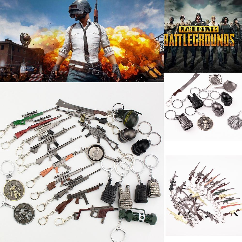 Game PUBG Gun Model Keychain FPS Playerunknowns Battlefields Ornaments Rifle 98KAWM Metal Pendant Jewelry Child Gift Toy AAA840