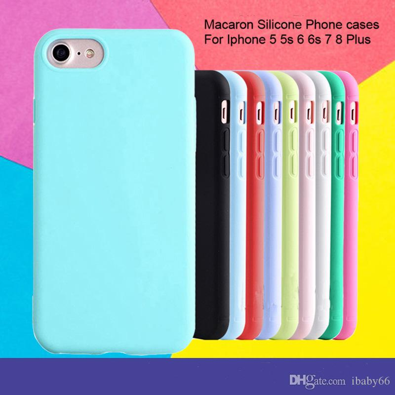 For iPhone 7 7Plus Cases Silicone Matte Protection Case Soft TPU Back Cover  For iPhone X 7 8 6S Plus Simple Solid Color