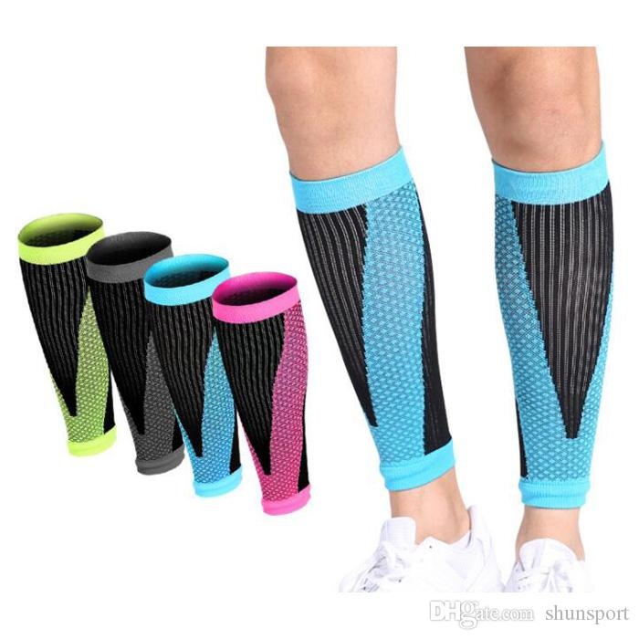 9351e8c89e6 2019 Fashion Soccer Football Protective Leg Calf Compression Sleeves  Cycling Running Sports Safety Black Blue Green Rose From Shunsport